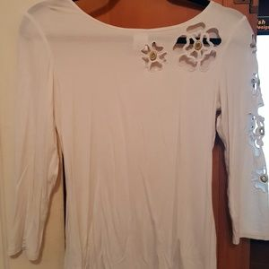 Spiegel white blouse with cut out flowers